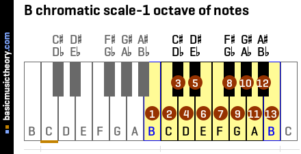 B chromatic scale-1 octave of notes