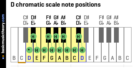 D chromatic scale note positions