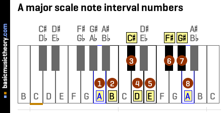 A major scale note interval numbers