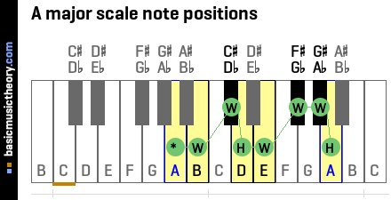 A major scale note positions